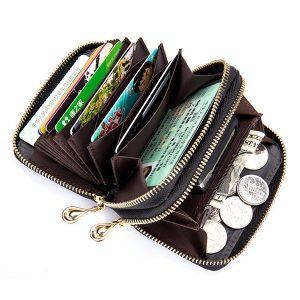 Kvinnor Män Fårskinns RFID-kortinnehavare med kort blixtlås stickade korta plånbokväskor
