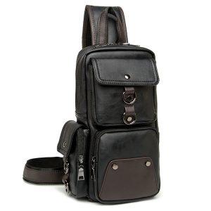 Män Bröstväska Svart axelväska Multi Pocket Crossbody Bag
