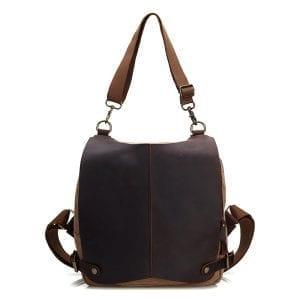 Genuine Leather Canvas Functional Backpack Shoulder Bag For Men And Women