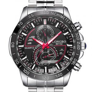 LONGBO 80132 lysande män klocka mode datum display rostfritt stål kvarts armbandsur