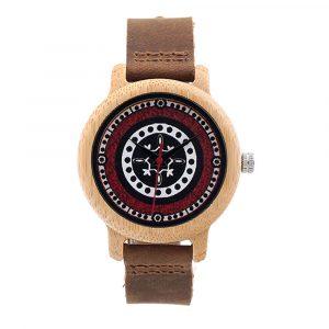 BOBO BIRD C-J19 Retro Style Wood Leather Strap Wrist Watch