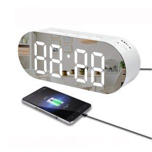 Digoo DG-DM3 Digital spegel Surface Alarm Clock Dimmer Stor LED-skärm med dubbla USB-laddning