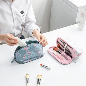 Women Travel Print Cosmetic Bag Double Layer Storage Bag
