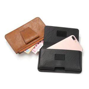 Män PU läder telefonväska bälte hölster plånbok telefonväska för 5,5 tums telefon