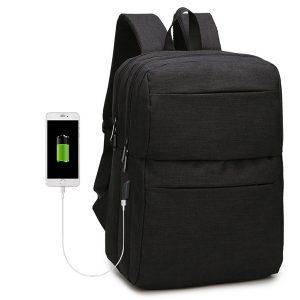 Män Nylon Resor Casual 15,6-tums bärbar ryggsäck med extern USB-laddningsport