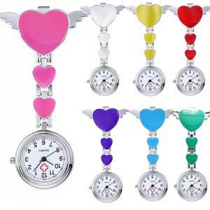 Women Sweet Heart Wing Metal Nurse Watch Pendant Clip Watch