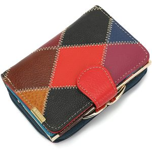 Genuine  Leather Color Zipper Purse Buckle Purse Wallet