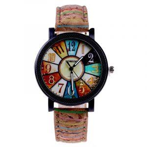 Fshion Women Watch Color Dial Retro Quartz Watch