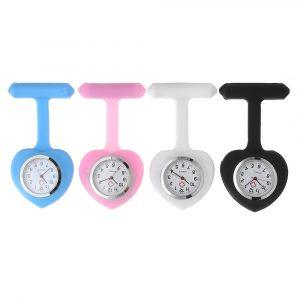 Silikon Färgglada Sweet Heart Pocket Watches Clip Nurse Watch