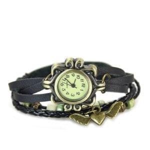 Women Girls Retro Braided Bracelet Wing Heart Wrist Watch