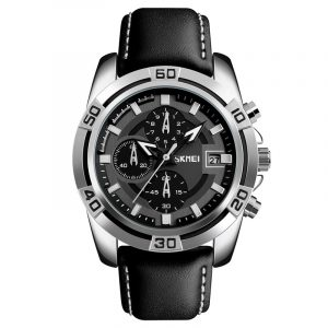 SKMEI 9156 Sportklocka Kronograf Läderrem Vattentät Herr Quartz Armbandsur