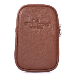 6 Inches Cell Phone Men Cowhide Genuine Leather Waist Bag