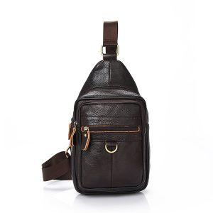 Män Äkta läder Casual Crossbody Bag Business Chest Bag
