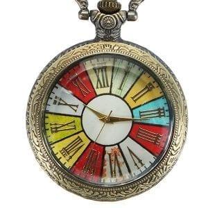 DEFFRUN Vintage Simple Roman Number Pocket Watch