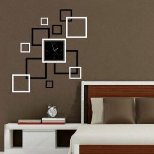 Honana DX-X4 Creative 3D akryl spegel väggklistermärke kvartsklockor fyrkantig klocka stor heminredning
