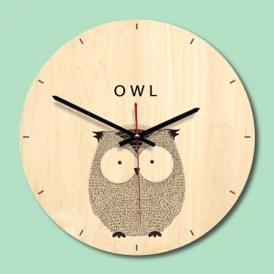 Wooden Wall Clock Livingroom Wood Animal Printing Painting Wall Clock Creative Clock Home Decor