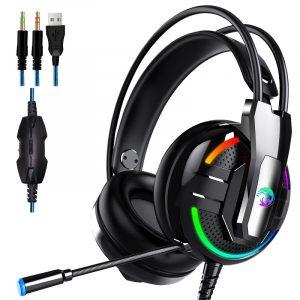 A18 E-sport Hörlurar 3,5 mm Hörlurar Stereo HiFi Gaming Headset med mikrofon för PC mobiltelefon