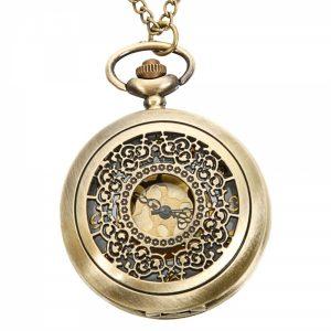 DEFFRUN Vintage Copper Pattern Bronze Quartz Pocket Watch