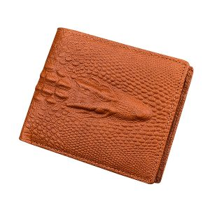 Men Genuine Leather Alligator Pattern Short Wallet Vintage Casual Business Card Holder Coin Bag