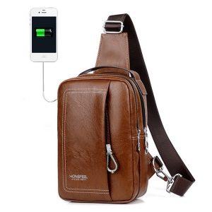 Dubbel blixtlås USB-laddningsport Sling Bag Chest Bag