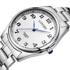 LONGBO 80024 Casual stil stålrem par armbandsur