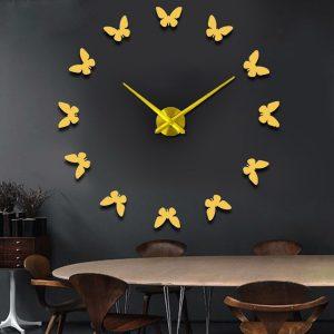 Stor 3D DIY-väggklocka Home Decor Mirror Sticker Art Clock