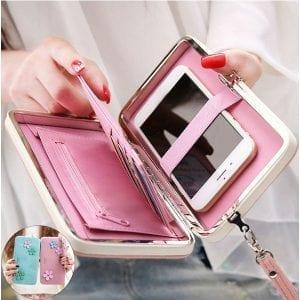 Kvinnor blomma 5,5 tum telefon PU plånbok fall täcka lång plånbok