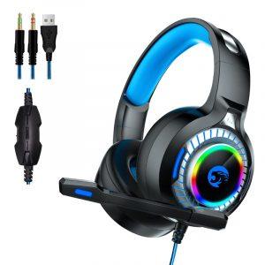 A60 Gaming Hörlurar RGB LED Light Stereo Bass Hörlurar Trådlösa headset med mikrofon för PC-dator PS4