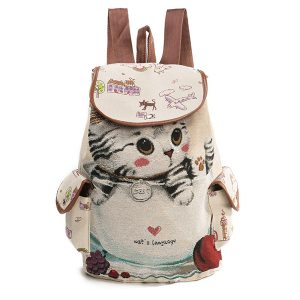 Canvas Casual Cartoon Cat Pattern Backpack