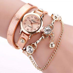 DUOYA Retro Style Pendant Gold Case Leather Bracelet Watch