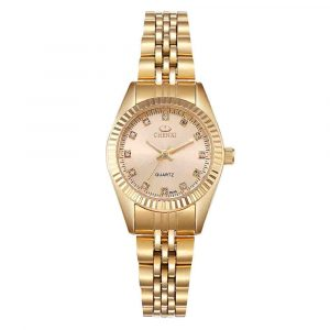 CHENXI 004A Golden Rhinestone Casual Ladies Wrist Watch