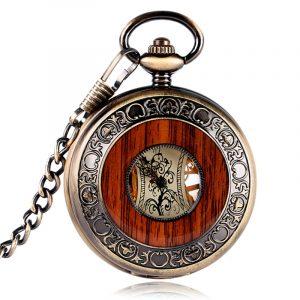 Deffrun Vintage Wood Design Hand Wind Mechanical Watch