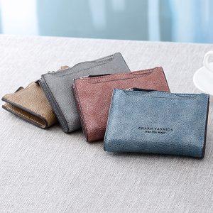 Candy Color PU-läder plånbok för korthållare för kvinnor