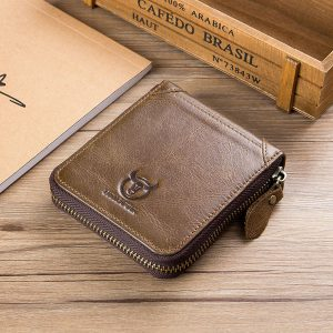 Bullcaptain Men Retro Cowhide 12 Card Slots Zipper Wallet