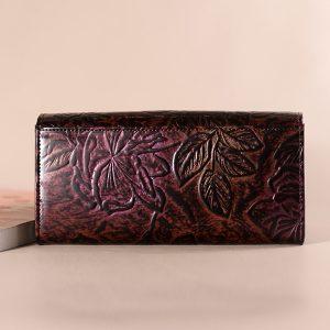Brenice National Floral äkta läderkvinnor lång plånbok