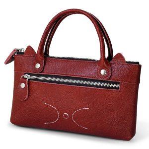 Women Cowhide Phone Bag Zipper Pocket Cute Handbag Clutch Bag