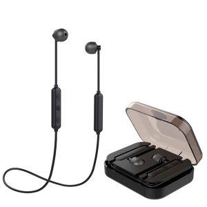[Bluetooth 5.0] Hifi Trådlös Bluetooth-hörlurar Magnetisk adsorption Stereo Sport-hörlurar med mikrofon med laddbox