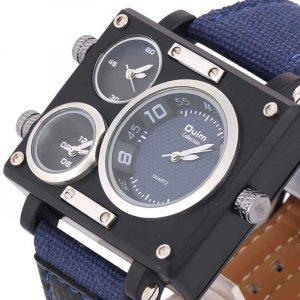 OULM 3595 Herrklocka Mode Tre tidszoner Legering Väska Textilur Band Quartz Watch