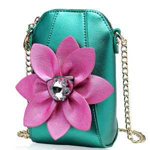 6 Inches Cell Phone Pu Leather  Women National Style Flowers Crossbody Bag Shoulder Bag