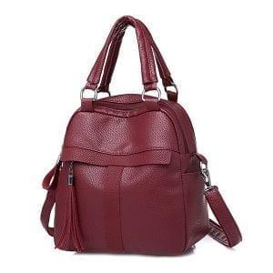 Kvinnor mjukt läder ryggsäckväska handväska axelväska