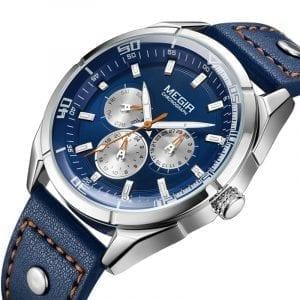 MEGIR ML2072G Luminous Calendar Men Leather Quartz Watch