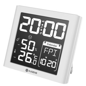 AUGIENB Negative Display Digital Alarm Clock Weather Station with Indoor Humidity/Temperature