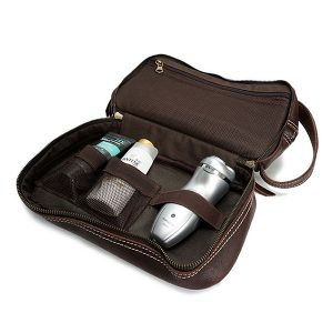 Ekphero® Herr äkta läder Vintage Kosmetisk väska Solid Stor Kapacitet Resväska Tväska