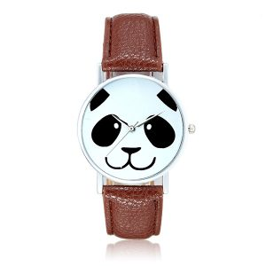 Mode söt Panda mönster PU läderband Analog kvarts armbandsur