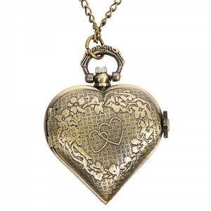 DEFFRUN Vintage Bronze Heart Shaped Quartz Pocket Watch