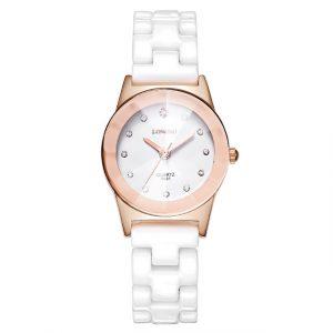 LONGBO 8631 White Ceramic Diamond Waterproof Couple Watch
