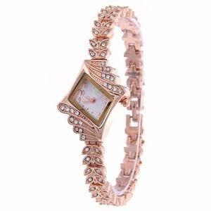 Fashion Ladies Dress Diamond Shape Crystal Quartz Watch