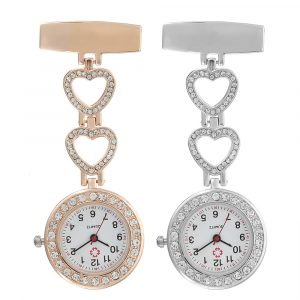 Luxury Stainless Steel Crystal Heart Dial Quartz Watches