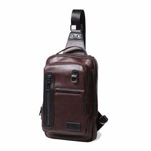 Män Business äkta crossbody väska Cowhide Retro Chest Bag