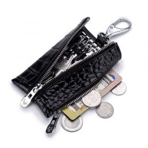 Men Women Genuine Leather Crocodile Grain Key Holder